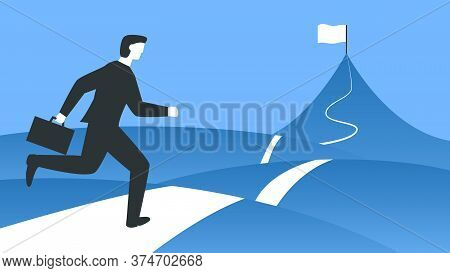 Vector Illustration Of A Businessman With A Briefcase Running To The Top Of The Mountain. Represents