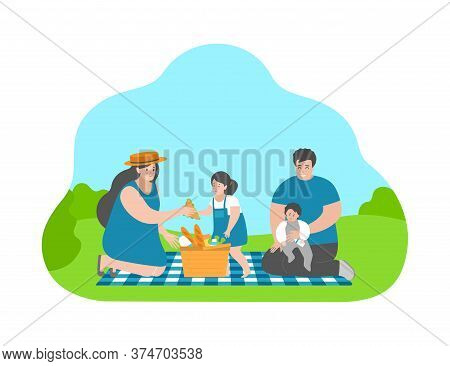 Vector Flat Concept With Cartoon Family. Happy Moments From Childhood. Mother Gives Cute Daughter Sa