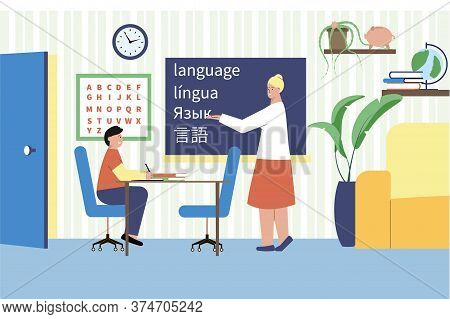 Language Tutor Flat Composition With Home Scenery Characters Of Student And Teacher Writing Words In