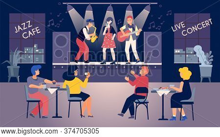 Music Concert Cafe Flat Composition With Indoor View Of Restaurant With Sitting Listeners And Live B