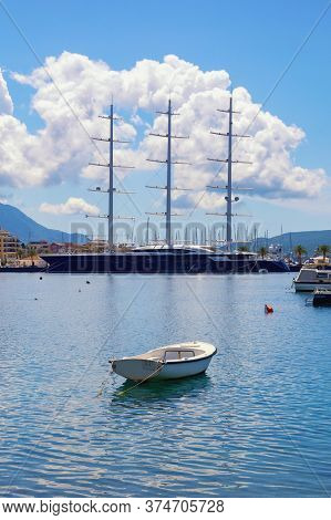 Tivat City, Montenegro - June 19, 2020:  Marina Porto Montenegro With Sailing Yacht Black Pearl - On