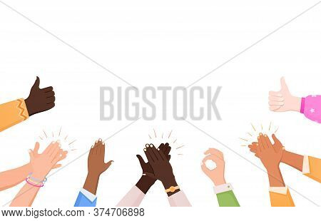 Clapping Ok Heart Hands Applause Composition With Flat Human Hand Images Making Gestures And Empty S