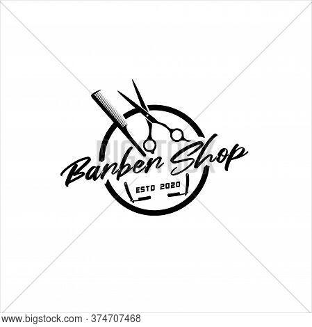 Barber Shop Logo Vector Template. For Label, Badge, Sign Or Advertising. Barber Shop Logo, Hipster M