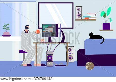 It Specialist Freelancer Flat Composition With Indoor Scenery Of Programmers Living Room With Pc And