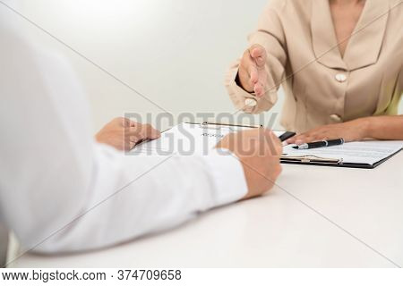 Businessman Candidate For Job Applicant Being Interviewed Hr Managers In The Meeting Room, Career An