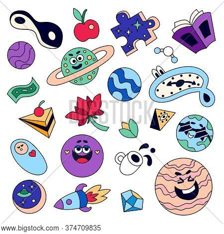 Funny Big Bang Cosmological Universe Elements Coloring Set With Smiling Planets Spacecraft Puzzle Mo