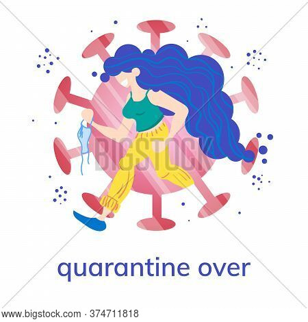 Stock Vector Illustration Of A Running Girl With A Medical Mask In Her Hand On The Background Of The