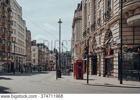 London, Uk - June 13, 2020: Red Phone Booth On Empty Haymarket, A Street In The St. James Area Of Th