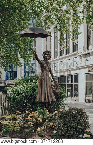 London, Uk - June 13, 2020: Statue Of Mary Poppins In Leicester Square, London. Each Statue In Leice