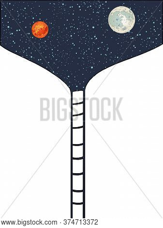 Stairway To Space To The Moon And Mars. Pop Art Retro Vector Illustration Kitsch Vintage 50s 60s Sty