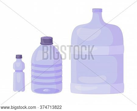 Set Of Plastic Bottels - 0, 5 Litres, 5 Litres And 19 Litres. Vector Cartoon Flat Illustration Isola