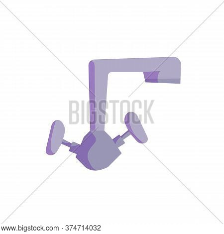 Blue Faucet For Kitchen Or Bathroom. Vector Cartoon Flat Illustration Isolated On White.