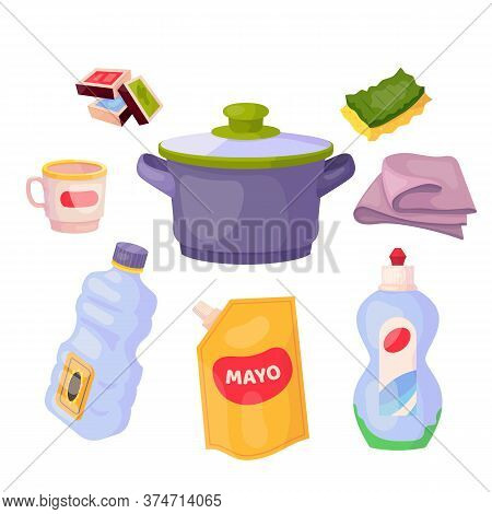 Kitchen Stuff Set With Matchboxes, Dishwashing Sponge, Cup, Saucepan, Microfiber Cloth, Oil Packagin