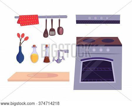 Kitchen Stuff Set. Kitchen Stove, Cooker Hood, Faucet, Vase With Red Flower, Spoon, Decorative Bottl