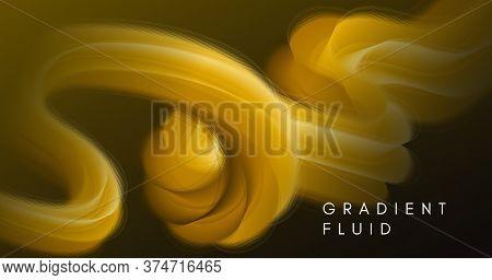 Fluid Poster Cover. Gold Music Flyer. Vector Futuristic Concept. Wave Dynamic Motion. 3d Fluid Poste