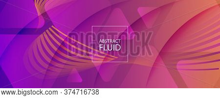 Abstract Fluid Background. 3d Gradient Stripes. Flow Shapes Banner. Orange Abstract Fluid Background