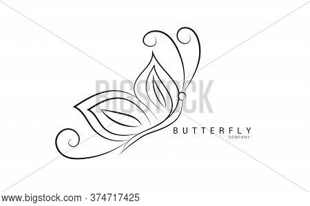 Butterfly logo vector template for cosmetic, beauty, spa. Black and white hand drawn butterfly illustration. vintage style, Butterfly logo design, Butterfly icon, Butterfly illustration,beauty lgo, spa logo, animal vector