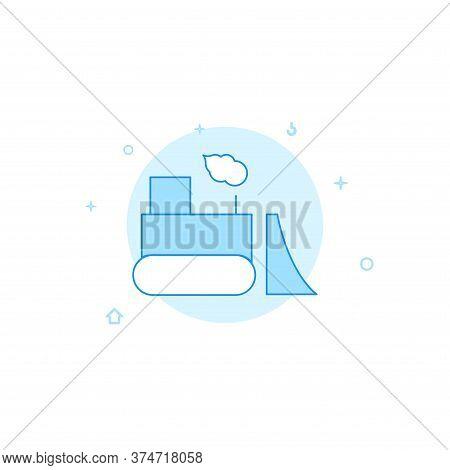 Bulldozer, Road Scraper Vector Icon. Flat Illustration. Filled Line Style. Blue Monochrome Design. E