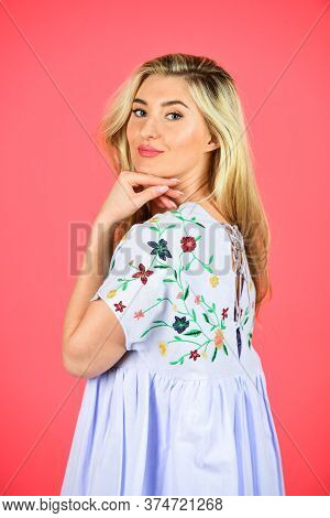 Handicraft And Embroidery. Floral Pattern On Dress. Pretty Woman Feeling Comfy. Fashion Collection.