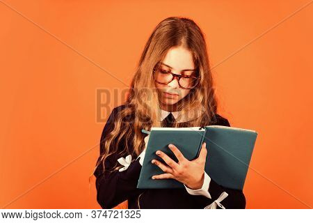 Study Because You Can. Small Child Write In Copy-book. Little Girl Do Lesson. School Lesson. Private