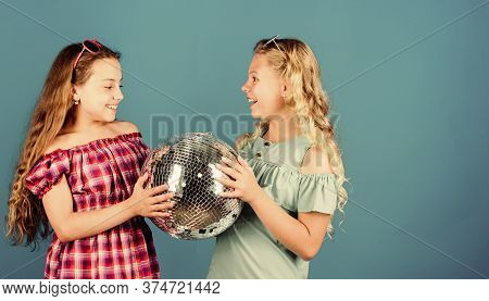 Lets Start Party. Cheerful Kids Hold Disco Ball. Disco Dances. Retro Music. Mirrors Reflecting Light