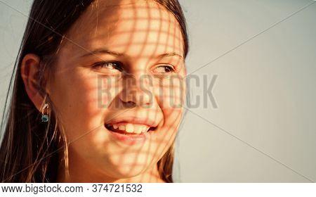 Take Care Skin Put Sunscreen Cosmetics. Girl Kid Relaxing Outdoors. Uv Filter Sunscreen. Child Pleas