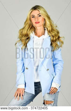 Classy And Chic. Girl Confident Lady Formal Jacket Hoodie And Denim Jeans. Gorgeous And Stylish. Imp