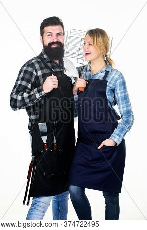 Cooking Together. Couple In Love Getting Ready For Barbecue. Picnic And Barbecue. Man Bearded Guy An