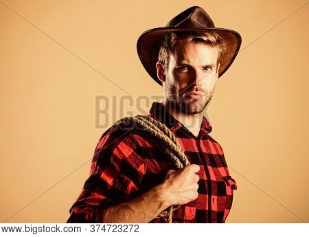 Ride Any Horse. Vintage Style Man. Wild West Retro Cowboy. Man Checkered Shirt On Ranch. Wild West R