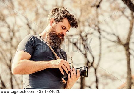 Manual Settings. Photographer With Beard And Mustache. Man Shooting Photos. Content Creator. Man Bea