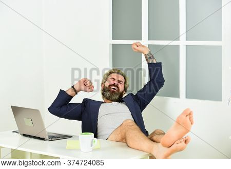 Maintaining Regular Business Hours. Work Through Evening Or Procrastinate Further. Man Doing Busines