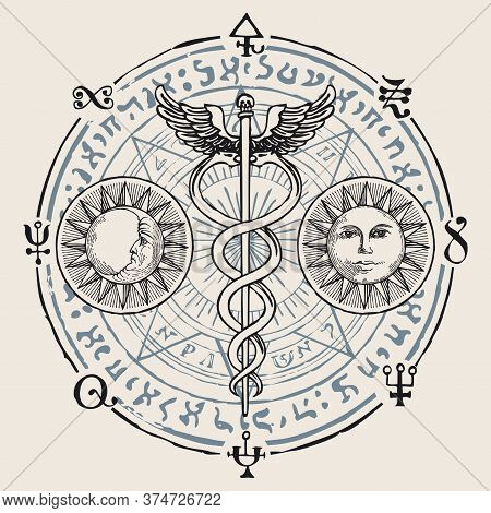 Caduceus With Two Snakes And Wings. Vector Banner With Hand-drawn Staff Of Hermes, Sun, Moon, Esoter