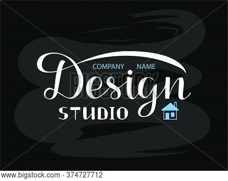 Vector Illustration Of Design Studio Lettering For Banner, Leaflet, Poster, Logo, Advertisement, Pri