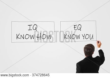Iq Know How And Eq Know You Concept. Man Writes With A Marker On A White Wall Iq Know How And Eq Kno