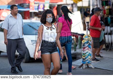 Rio De Janeiro, Brazil - July 3, 2020: Only Some People Are Wearing Face Masks During The Coronaviru