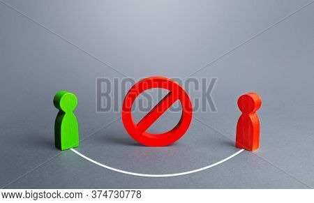 Two People Figures Are Connected Bypassing Red Prohibition Sign No. Collaboration, Doing Business Th