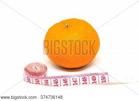 Orange Fruit And Tailors Centimeter On White Background. Cellulite Fight And Slimming Diet Conceptua