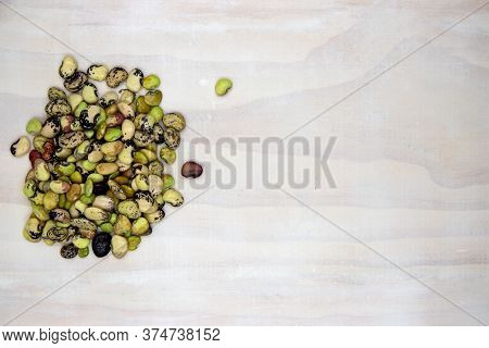 Colorful Beans Pile On White Wooden Table, Top View Photo. Phaseolus Kidney Bean Bunch On Wood Banne