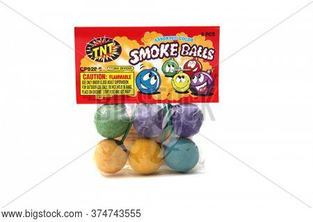 Lake Forest, CA / USA - July 1, 2020: Smoke Balls. TNT brand SMOKE BALLS. Smoke Balls for 4th of July Parties and events. Smoke Balls when burning emit colors to entertain people. Editorial use.