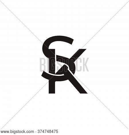 Vector Of Letter Sk Overlapping 3d Design Fit For Fashion Emblem Logo
