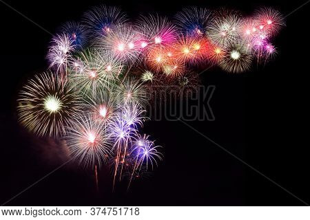 Several Fireworks Stacked With Space For Writing.