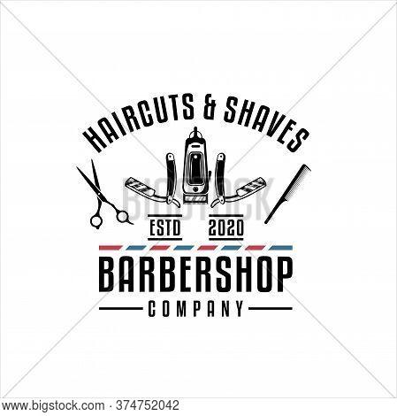 Barber Shop Vintage Retro Vector Logo, Barber Shop Logo Vector Template. For Label, Badge, Sign Or A