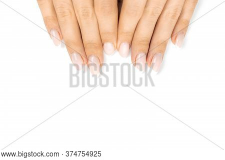 Manicured Hands Nail, Beauty Female Hand Care With Polish Finger Isolated On White Background. Elega