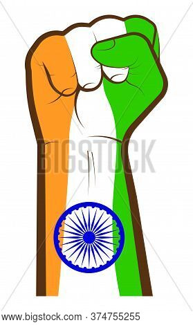 Independence Day. Hand Clenched In Fist In Style Of The Indian Flag. Struggle For The Sovereignty Of