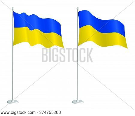 Ukrainian Flag On Flagpole Waving In The Wind. Holiday Design Element. Checkpoint For Map Symbols. I