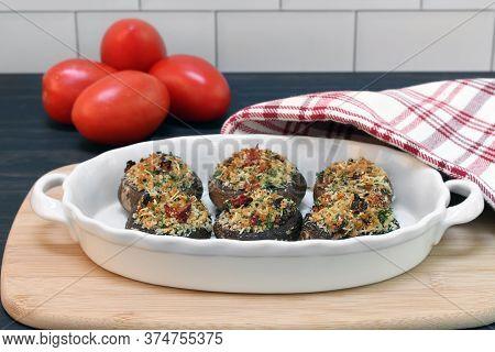 Fresh Baked Stuffed Mushrooms.  Mushrooms Stuffed With Sundried Tomatoes, Parsley, Garlic And Breadc