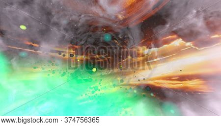 Colorful Background With Color Mixed And A Wormhole On It. 3d Illustration.