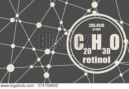 Formula Vitamin A Retinol. Connected Lines With Dots Background.