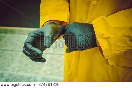 male hands in protective gloves during a pandemic