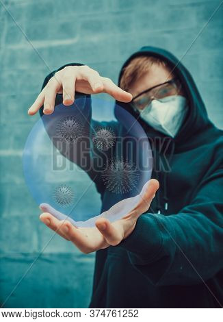 young guy holds a glass bowl with bacteria covid-19